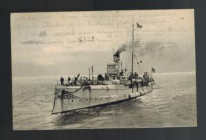 1904 Brussels Belgium RPPC Navy Torpedo Boat Postcard Cover to Uccle