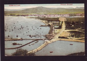 P1671 old unused postcard air view harbor etc neutral grounds gibraltar