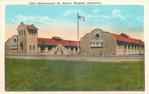 Modesto CA~American Flag Over Seventeenth St School~Spanish Revival~1920s