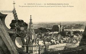 France - Orleans, Panoramic View from Terrace of St. Croix Cathedral
