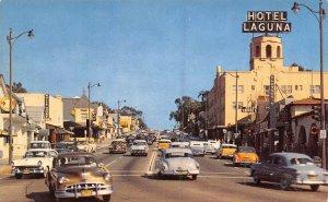 Street Scene Cars US 101 Highway Laguna Beach California 1950s postcard