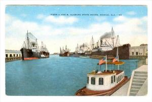Cargo Ships, Piers A & B, Alabama State Docks, Mobile, Alabama, 1930-1940s