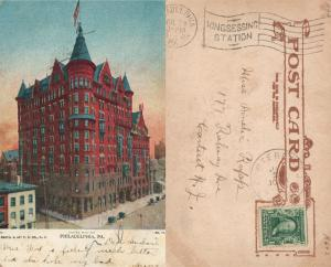 PHILADELPHIA PA HOTEL WALTON 1907 UNDIVIDED ANTIQUE POSTCARD