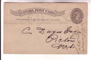 Victoria Postal Stationery Card, Newcastle NB, Pictou NS 1895 Cancels, Coal O...