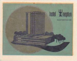 GERMANY WARNEMUENDE HOTEL NEPTUN VINTAGE LUGGAGE LABEL