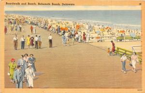 F4/ Rehoboth Beach Delaware Postcard 1950 Boardwalk and Beach People 6