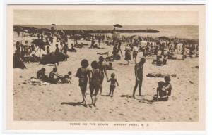 Beach Crowd Scene Asbury Park New Jersey postcard