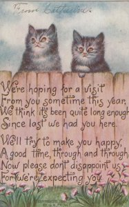 Two cats at the top of a fence, 1910; Poem