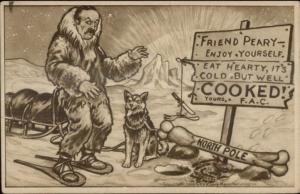 Frederick Cook Arctic North Pole Exploration Comic Snowshoes Husky Dog PC