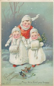 CHRISTMAS; Greetings, Family with girls wearing fur hand muffs, 1916