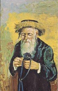 JUDAICA, Jewish Art, Katz Artist, Chasidic Man Examining Tefilin, 1970, #70