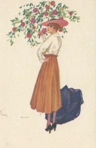 Art Deco ; BIANCHI ; Woman Portrait , Black Umbrella , 1910-20s
