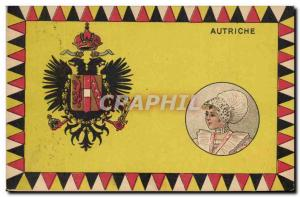 Old Postcard Flag Woman Austria Austria