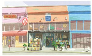 Adobe Books San Fransisco Bookstore Shop Oil Painting Postcard