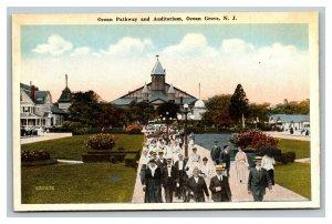 Vintage 1930's Colored Photo Postcard Ocean Pathway Auditorium Ocean Grove NJ