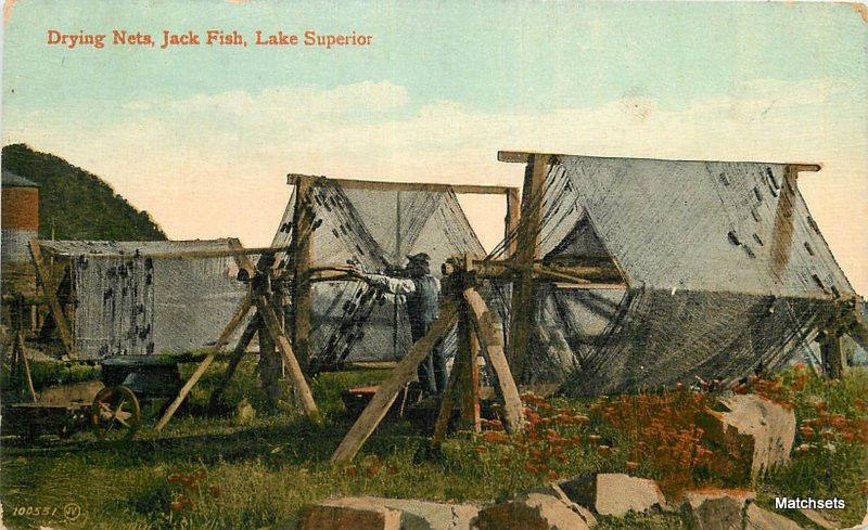 C-1910 CANADA Drying Nets Jack Fish Lake Superior Valentine postcard 13041