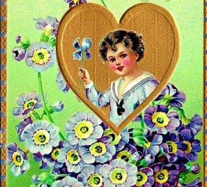Raphael Cibo Floreale Missivies Valentine Auguri Dorato Fiori Goffrato Cartolina