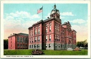 Fargo, North Dakota Postcard CASS COUNTY COURT HOUSE AND JAIL c1930s Unused