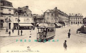1920 Le Mans France Postcard: Streetcar Passes Herve's Cafe Thiers
