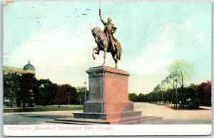 Chicago, Illinois Postcard Washington Monument, Washington Park 1908 Cancel