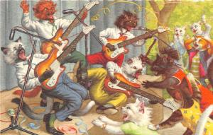 F60/ Alfred Mainzer Dressed Cats Postcard c1940s Guitar Rock Band 4