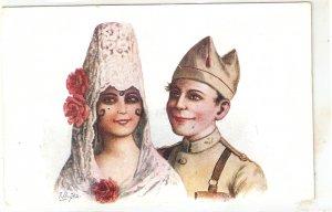 J. Ibañez. Manola and soldier Nice Spanish postcard 1920s
