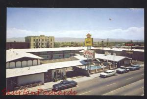 NEEDLES CALIFORNIA ROUTE 66 1960's CARS OVERLAND MOTEL ADVERTISING POSTCARD