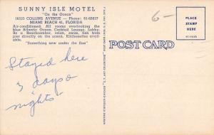 Miami Beach Florida Sunny Isle Motel Birdseye View Antique Postcard K107008
