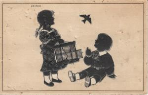Children silhouette signed Freund bird cage fantasy postcard