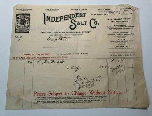 1920s Independent SALT COMPANY Red Cross Table Salt NEW YORK Bill Letterhead