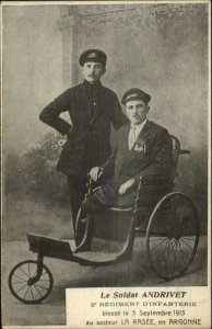 Disabled Legless Wounded War Veteran WWI La Rasee Argonne Disability Postcard
