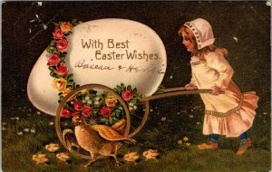 WITH BEST WISHES EASTER GREETINGS - VINTAGE GIRL WAGON CHICKEN - POSTCARD - PC