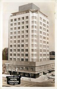 Yakima WA~Modern Drive Inn~Art Deco Hotel Chinook~Coffee Shop~1950s RPPC