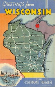 LP50   Wisconsin State Map Linen Postcard   Curteich