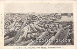 Williamsport, PA, USA Postcard Post Card Logs in Boom, Susquehanna River
