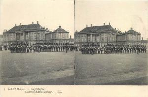 Early stereographic view Denmark Copenhagen Amalienborg military parade