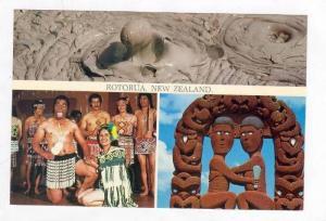 Rotorua, New Zealand, 3-view postcard 50-70s