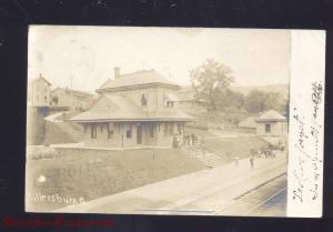 RPPC MILLERSBURG PENNSYLVANIA RAILROAD DEPOT TRAIN STATION REAL PHOTO POSTCARD
