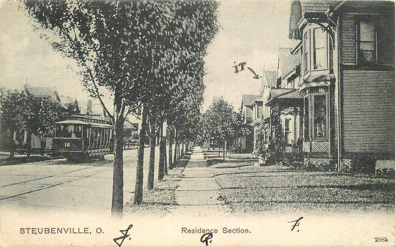 1906 Residence Section Stubenville Ohio Trolley PCK Series undivided 5951