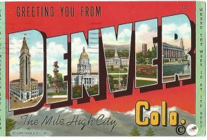 Vintage Linen Postcard Greetings from Denver Colorado Big Letter Large Letter
