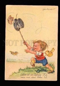 005044 Lovely GNOME catches Butterfly by TOP HAT vintage PC