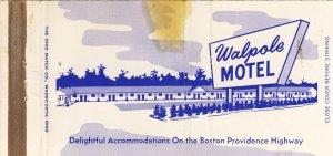 Early Walpole, Massachusetts/MA Match Cover, Walpole Motel