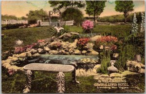 Lewisburg, WV Hand-Colored Postcard GENERAL LEWIS HOTEL In the Gardens c1930s