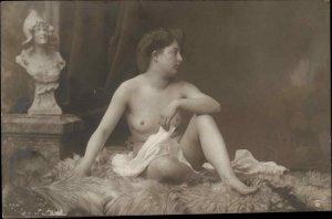 Nude Woman Fur Rug c1910 Real Photo Postcard
