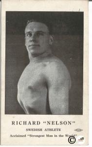 Richard Nelson Swedish Athlete Strongest Man in the World Vintage Postcard
