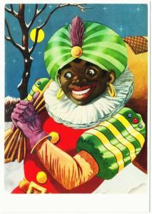 Zwarte Piet Black Pete on a Full Moon Night Dutch Christmas Postcard