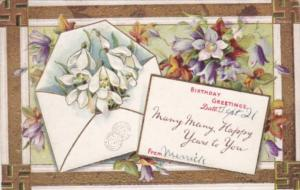 Birthday Greetings With Flowers and Swastika Border