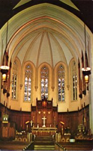 LUTHERAN CHURCH OF THE REDEEMER - Interior view  Gothic Cathedra 1950s era
