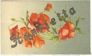 pc6214 postcard Henrietta Name Card Glitter not used
