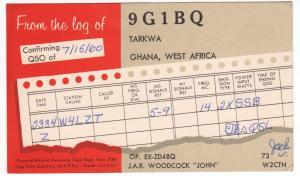 QSL, 9G1BQ, Tarkwa, Ghana, 1960
